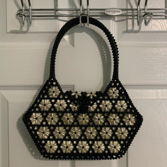 Black and Cream Beaded Purse